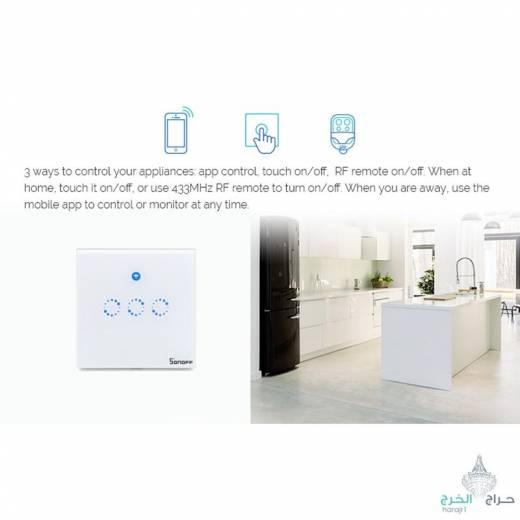 مفتاح حائط كهربائي من SONOFF - يعمل باللمس ، إضاءة LED ، تحكم بالصوت ، بتصميم ذكي