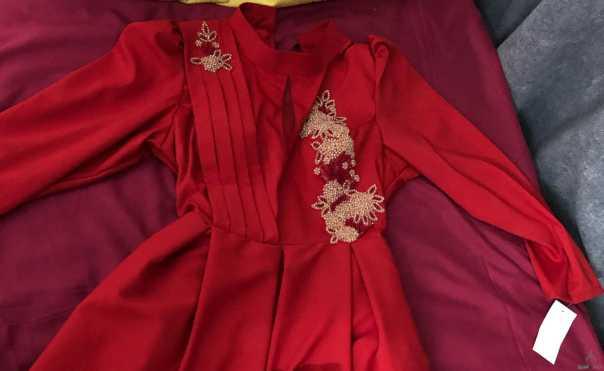 فستان سهرة احمر جديد