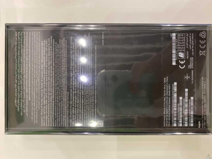 جوال ايفون 12 برو ماكس اللون ازرق حجم الذاكرة ١٢٨ جديد